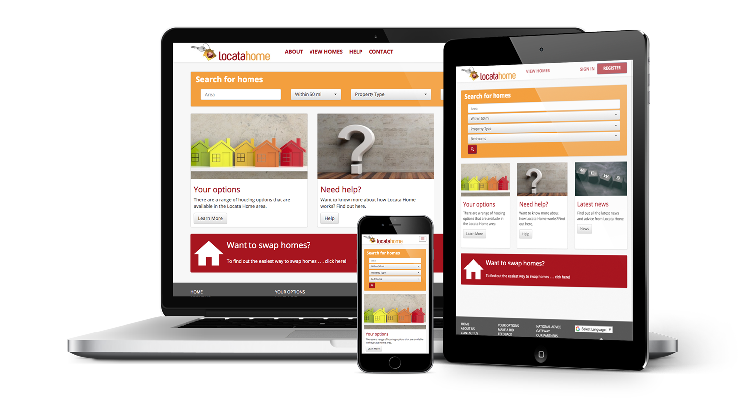 Locata lettings website shown on laptop, tablet and mobile