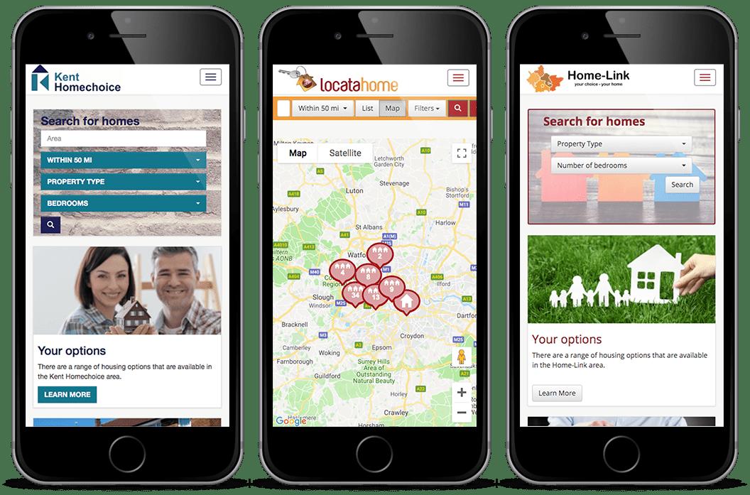 Locata websites on three mobile phones