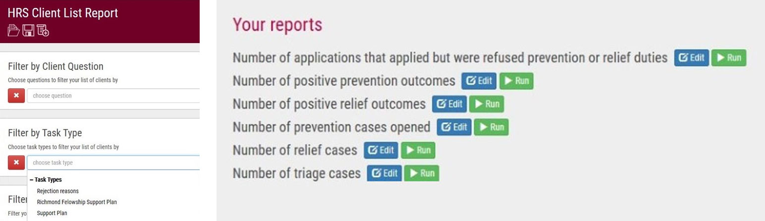 Task Types and reports