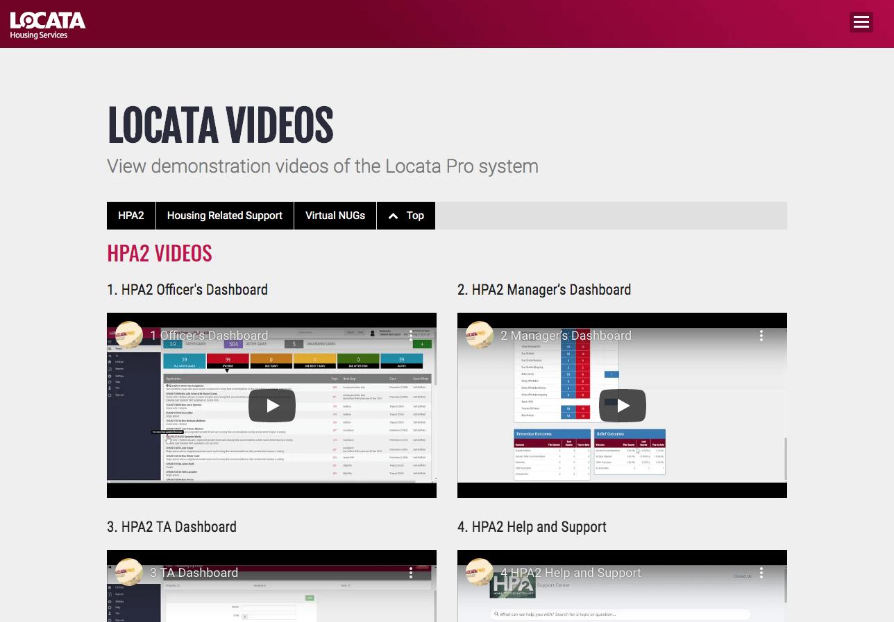 Locata Videos page