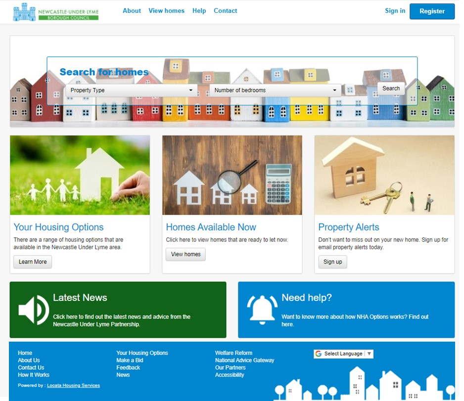 Newcastle under Lyme choice based letting website